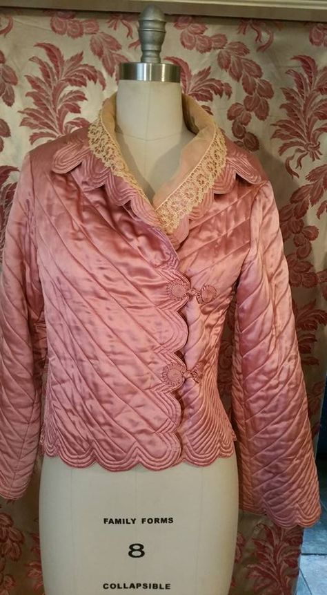 1930s dusty rose quilted satin jacket (probably a bed jacket