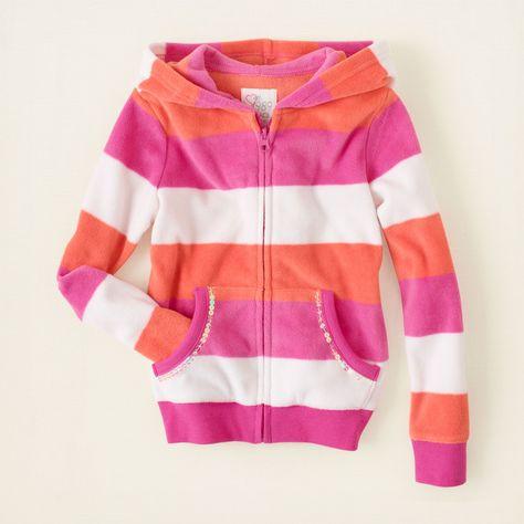 striped zip-up fleece hoodie.looks comfy!