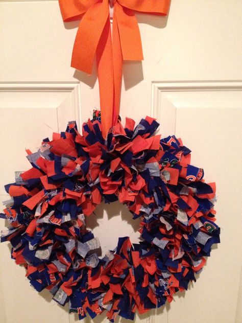 Florida Gators Fabric Wreath on 12 inch wire wreath - diy project. For mu out-of-state Florida born girls.