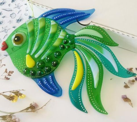 Fused Glass seascape Suncatcher Coral reef ANGEL fish