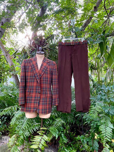 Vintage 70s Men's Suit Plaid Jacket and Slacks with Matching Belt Leisure Suit Johnny Carson Label by Hart Schaffner & Marx Rare