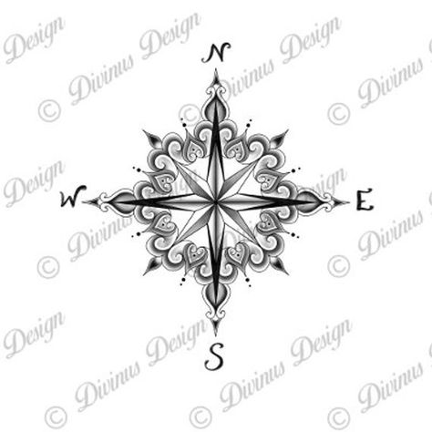 Compass Tattoo and Stencil  Instant Digital Download image 2