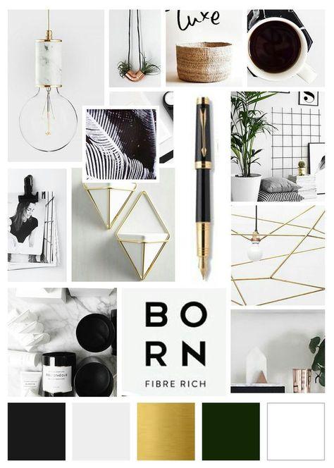 Arrow Creative Design Mood Board, Inspiration Board Green, Black & Gold Color Palette