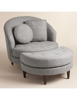 Upholstered In Woven Two Tone Gray Fabric Our Mid Century Inspired Collection Is As Bold As It Is Comfortable It Fe Chair And A Half Living Room Chairs Chair