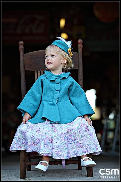 Wool princess girl's coat. I like the swing-y portion of this and think Ella would like a peplum on her new coat.