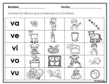 Silabas Con La Letra V Va Ve Vi Vo Vu Hojas De Trabajo Kindergarten Reading Worksheets Kindergarten Literacy Reading Worksheets