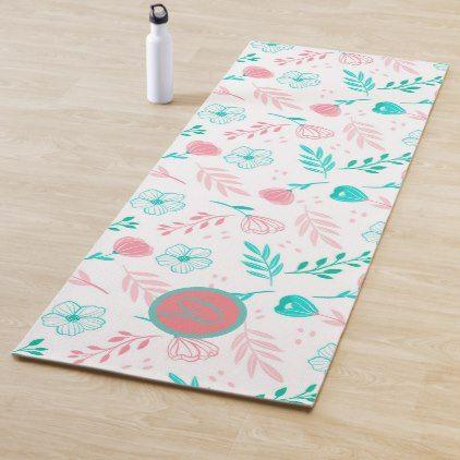 Monogram Floral Yoga Mat Zazzle Com Floral Yoga Mat Custom Yoga Mat Yoga Mat