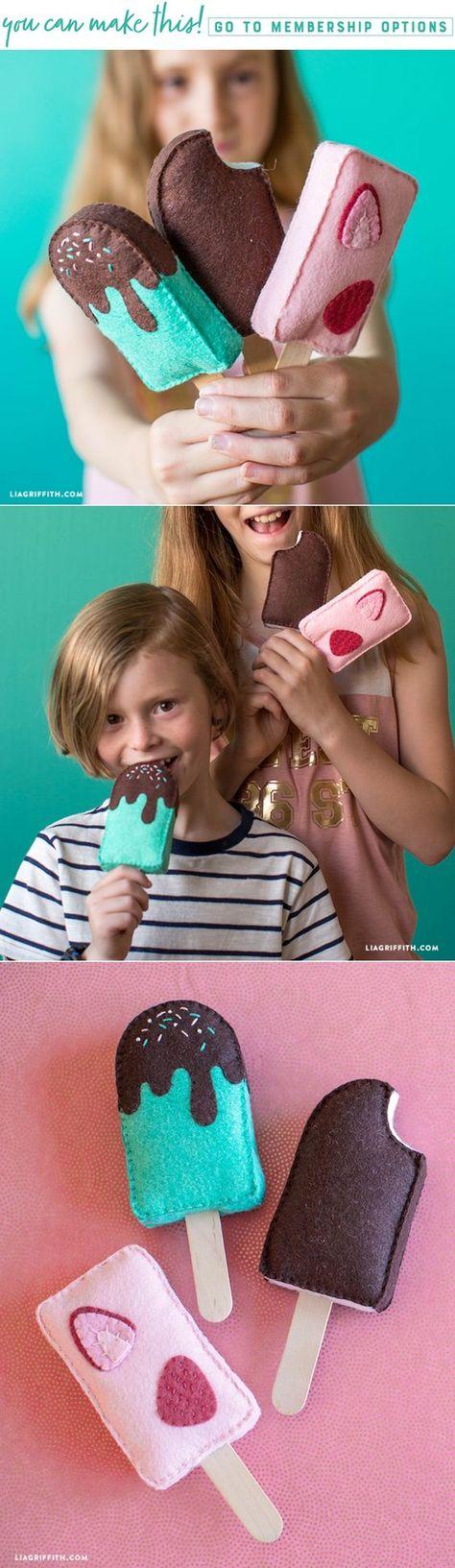 DIY Felt Ice Cream Bars - www.LiaGriffith.com - #feltcrafts #kidscrafts #feltpattern #feltpopsicle #felticecream #felttoy #DIYfelt #FeltDIY