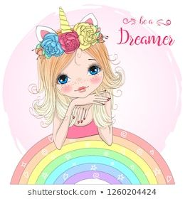 Hand Drawn Beautiful Cute Little Unicorn Girl With Rainbow Vector Illustration Drawing For Kids Cute Art Cute Cartoon Girl