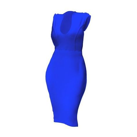 Rotita Cobalt Blue Cap Sleeve Low Neckline Bodycon Midi Dress ($18) ❤ liked on Polyvore featuring dresses, blue, sexy blue dresses, knee length dresses, short sleeve dress, long-sleeve midi dresses and cobalt blue dresses
