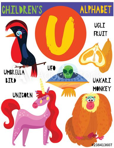 Letter U Cute Children S Alphabet With Adorable Animals And Other Things Poster For Kids Learning English In 2020 Childrens Alphabet Vocabulary Cartoons Kids Learning