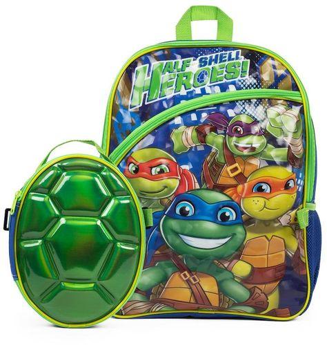 TMNT Ninja Turtles Lunch Box Carry Bag Shoulder Strap and Water Bottle BLACK