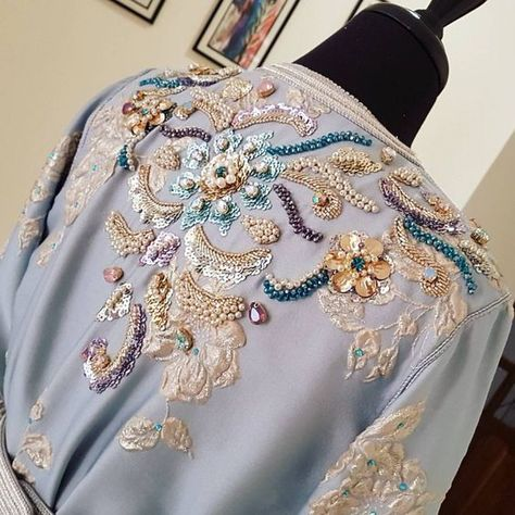 likemary Pompon en Coton brod/é Caftan Robe