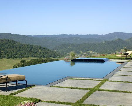 Flamed Black Granite Slot Overflow Swimming Pool Vanishing Edge Pool Overflow Spa Umbrella Baja Shelf Infinity Edge Luxury Pools Infinity Edge Pool Pool