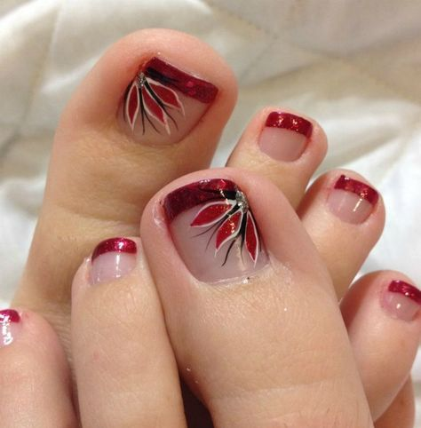 Glitter French Tip Pedicure (Christmas Nails Toes)