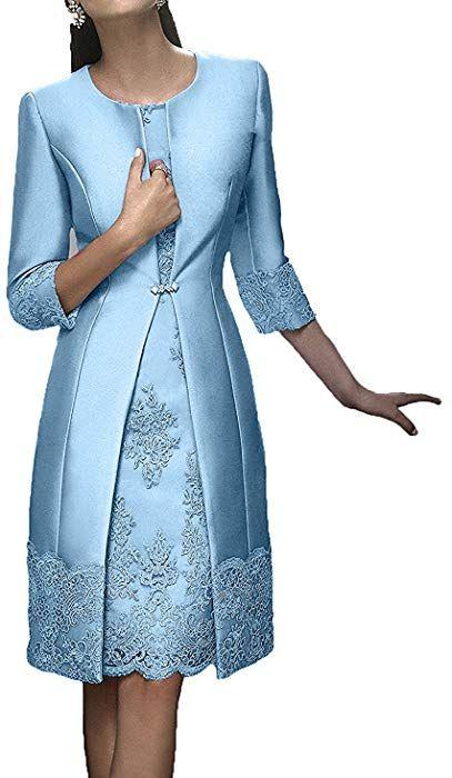 Charmant Damen Rosa Elegant Langarm Knielang Abendkleider Brautmutterkleider Ballkleider Kurz Festlichkle Kleidung Brautmutter Mutter Kleider Festliche Kleider