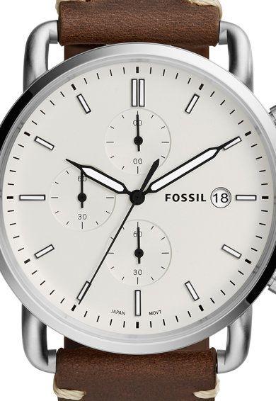 Ceas Cronograf Cu O Curea De Piele Commuter Fossil Clock Fossil Accessories