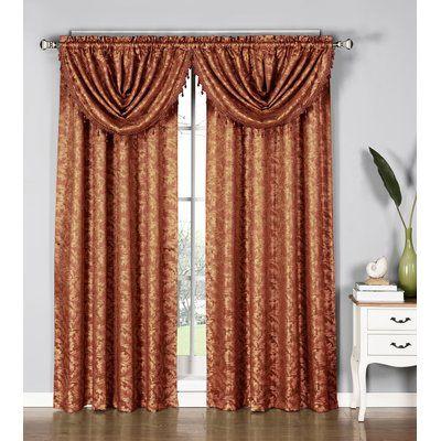 Astoria Grand Farner Damask Sheer Rod Pocket Single Curtain Panel