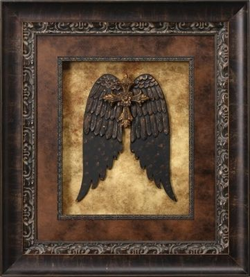 Visser Amber Crystal Jeweled Wings With Cross Print Framed Picture 38 X 42 Tuscan Wall Decor Picture Frame Crafts Art Deco Decor