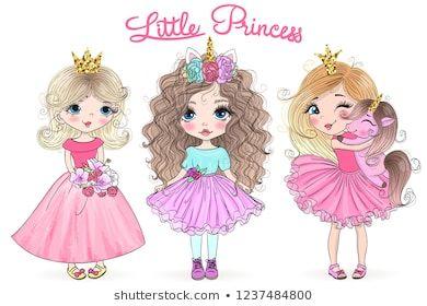 Three Hand Drawn Beautiful Cute Little Princess Girls With Unicorn Vector Illustration Cute Cartoon Drawings Cute Dragon Drawing Princess Illustration