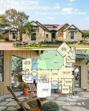 Architectural Designs Hill Country House Plan 28339hj Gives You 3 To 4 Beds And Over 2 900 Square Feet Of Living Country House Plan House Plans Country House