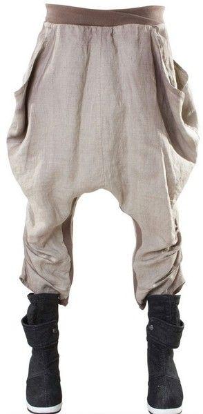 Draped Low Crotch Baggy Linen Trousers - Lyst...brauch ich dringend zum Rumhängen...
