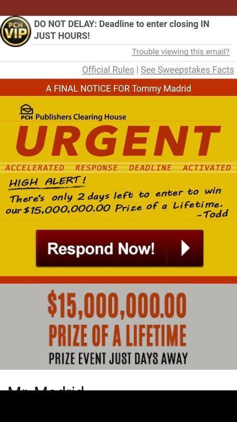 I Jcg Claim Confirm I claim superprize PCH GWY No 8800 $15  Million