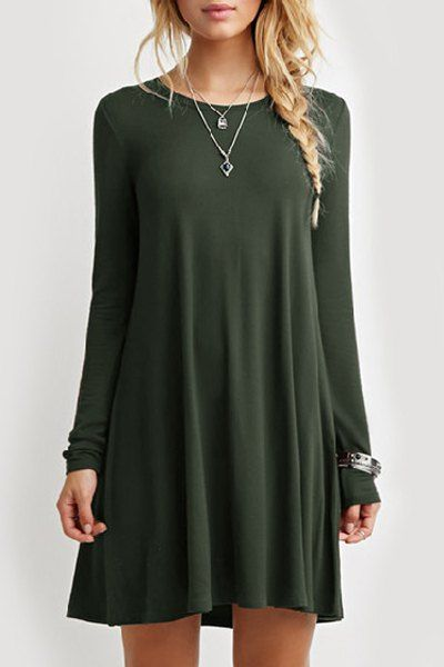 Loose Fitting Round Neck Solid Color Casual Dress GREEN: Casual Dresses   ZAFUL