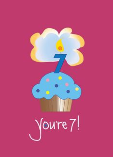 Youre 7 Cupcake Birthday Card For A Special Child That Says Happy To Wonderful Seven Year Old Inside