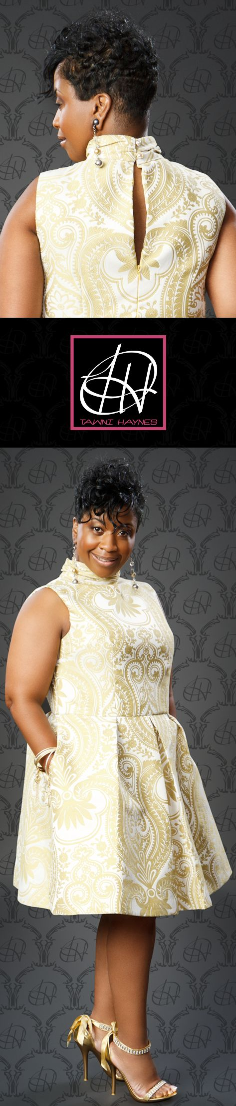 Tawni Haynes Custom Made Gold on Cream Sleeveless Brocade Damask Pleated Dress. Tawni Haynes 972-754-5096 www.facebook.com/TawniHaynesCustomApparel