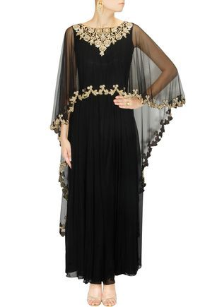 9662b2ac16ed Black embroidered cape anarkali set available only at Pernia's Pop-Up Shop.