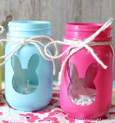 Easy Diy Easter Bunny Mason Jar Lantern Easter Decor Diy Jar Crafts Mason Jar Crafts Jar Crafts