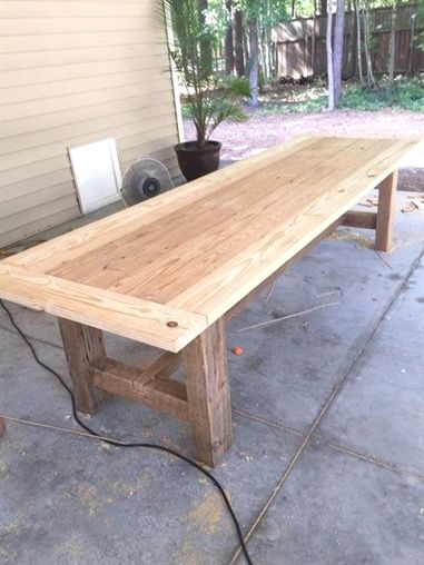Farmhouse Dining Table Grey 10 Foot Farm Table With Reclaimed Barn Wood Source Http Lumberjo Diy Farmhouse Table Farmhouse Dining Table Outdoor Patio Table