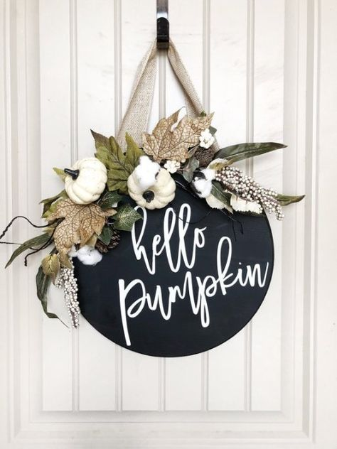 Fall Decor – For the love of pumpkins – Exploring life Together Fall Wood Signs, Fall Decor Signs, Halloween Wood Signs, Halloween Porch, Wooden Door Signs, Wooden Doors, Wood Wreath, Grapevine Wreath, Pumpkin Door Hanger