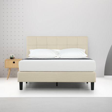 Zinus Square Stitched Upholstered Platform Bed Frame Mattress