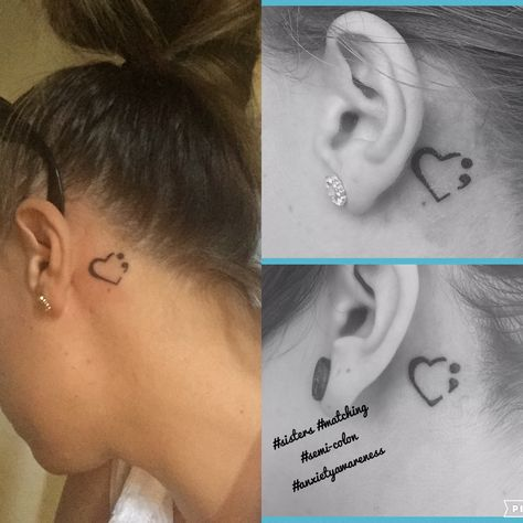 So today me + my sister got matching semi-colon tattoos! To show our support & understanding of anxiety + mental health ❤. A subject close to both our hearts! Thanks to Alan House Ovpain Cooke #mentalhealth #anxiety #semicolontattoo #love #support #sisters #blackandwhite #tattoo #inked #pretty