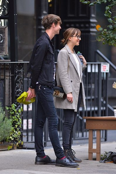 Matthew Hitt and Dakota Johnson seen in NoHo on October 9 2015 in New York City