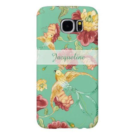 Boho Cottage Modern Bohemian Pattern Flower Birds Samsung Galaxy S6 Case