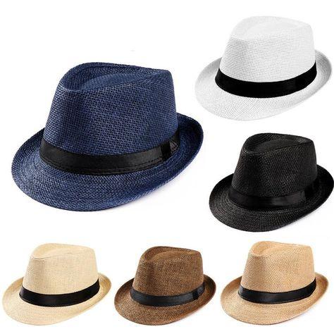 Men Women Beach Summer Visor Hat Jazz Fedora Trilby Wide Brim Panama Straw Cap
