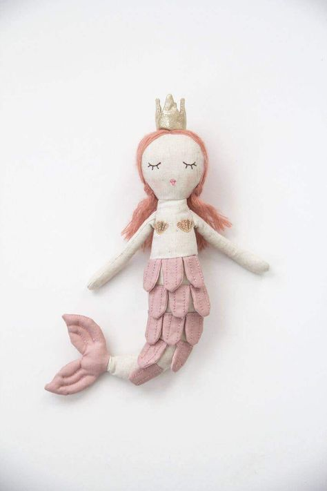 Miss Rose Sister Violet handmade soft toy. Our darling Princess Mermaid is perfect for girls of all ages. Soft fabric and sparkly gold crown. Perfect for all little princesses! size: Approximately 14 inches high