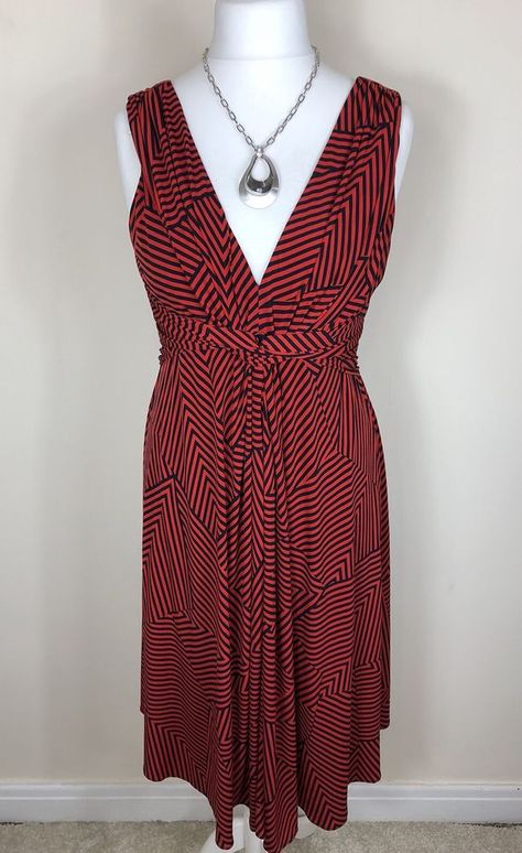 Ladies PHASE EIGHT Size 16 Dress Stripe Red Navy Blue A-Line Midi Twist  Front a973239a0