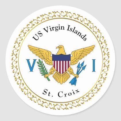 Us Virgin Islands Flag Usvi St Croix Classic Round Sticker Zazzle Com In 2020 Virgin Islands Flag Round Stickers Us Virgin Islands