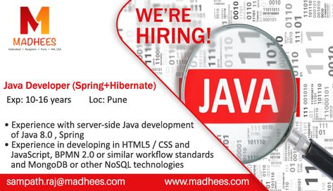 Job Requirement Java Developer With  Years Experience In