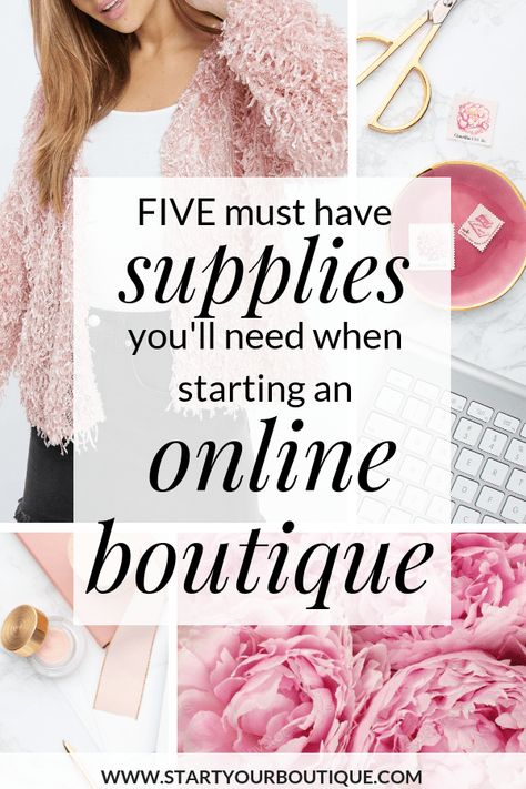 5 Must Have Supplies You'll Need When Starting an Online Boutique. Top Must-Have Supplies for an Online Boutique Owner, Running an online boutique requires A LOT of hats. You're managing logistics, ordering, marketing, etc. Click through for all the suppl Starting An Online Boutique, Selling Online, Start Online Business, Starting A Business, Starting A Clothing Business, Fashion Business, Business Inspiration, Business Ideas, Business Opportunities