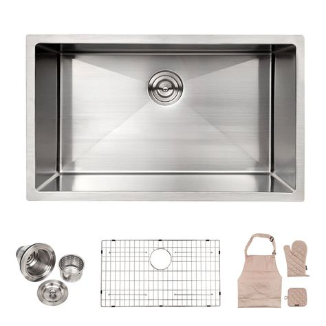 Lordear Commercial 32 Inch 16 Gauge 10 Inch Deep Brushed Nickel Drop In Single Undermount Single Bowl Stainless Steel Kitchen Sink Stainless Steel Bar Bar Sink