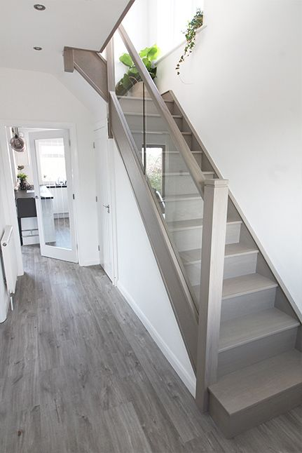 Canyon Grey Oak Complete Staircase Renovation Stairs In Living Room House Staircase Home Stairs Design