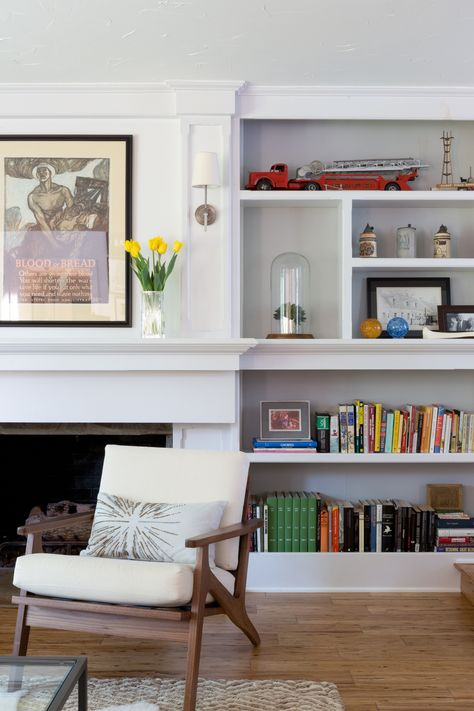 Fire case and built in bookcase seamlessly blended   K. Jurtz Design