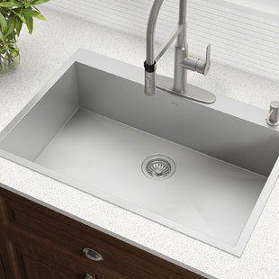 Akdy 32 X 22 Drop In Kitchen Sink With Drain Strainer Wayfair Drop In Kitchen Sink Best Kitchen Sinks Cottage Kitchen Design