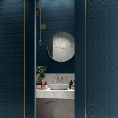 Deep Blue Diamond Matt Garden State Tile 4d Is A Unique Wall Tile Based On Dimensional Struct Bathroom Interior Design Deep Blue Decor Round Mirror Bathroom