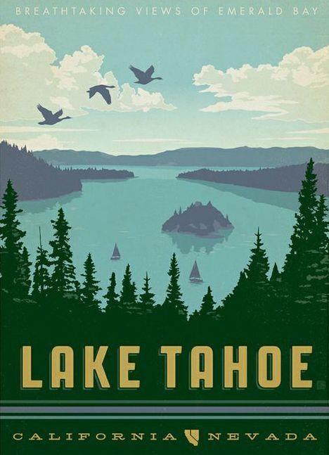 lake tahoe vintage travel posters